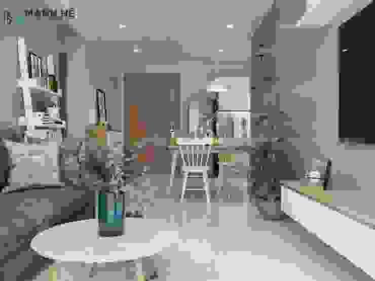 Tổng thể không gian phòng khách bếp hưởng trọn ánh sáng tự nhiên thoáng đãng, sạch sẽ Nhà bếp phong cách hiện đại bởi Công ty TNHH Nội Thất Mạnh Hệ Hiện đại