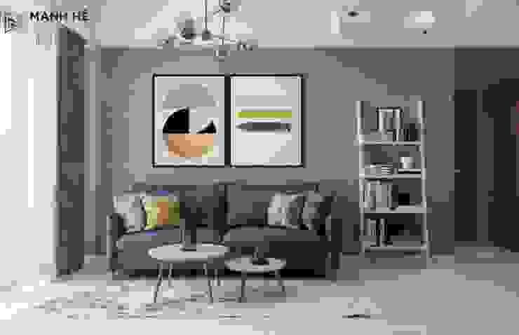 Sử dụng ghế sofa chữ I đơn giản, mang màu xanh nổi bật giữa gian phòng bởi Công ty TNHH Nội Thất Mạnh Hệ Hiện đại
