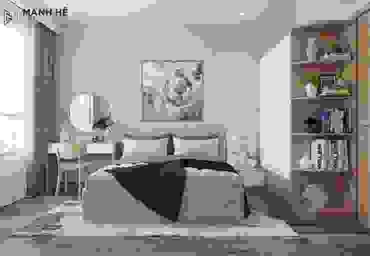 Tích hợp kệ trang trí chung tủ quần áo để tiết kiệm tối đa không gian cho phòng ngủ master nhỏ trở nên tiện nghi bởi Công ty TNHH Nội Thất Mạnh Hệ Hiện đại