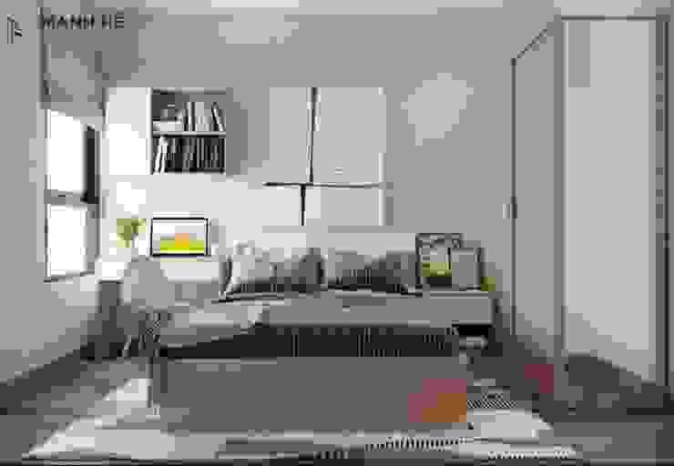 Tích hợp gương đứng chung tủ quần áo gỗ công nghiệp cửa lùa một cách thông minh bởi Công ty TNHH Nội Thất Mạnh Hệ Hiện đại