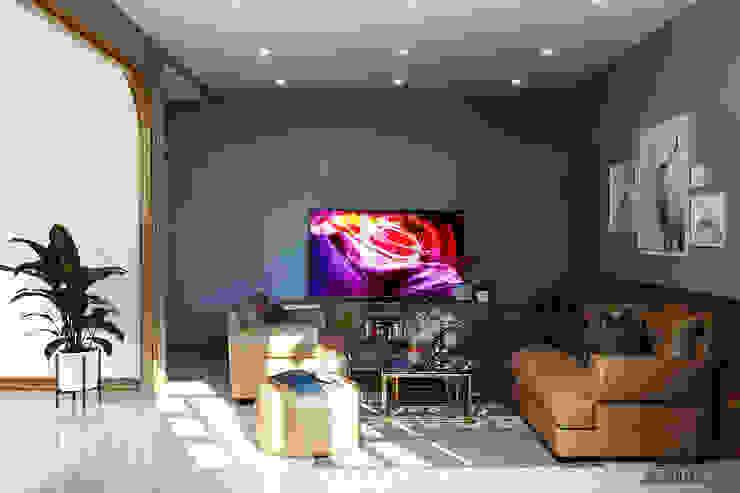 Thiết kế nội thất nhà phố Tây Ninh Phòng khách phong cách đồng quê bởi Công ty trang trí nội thất RIM Decor Đồng quê