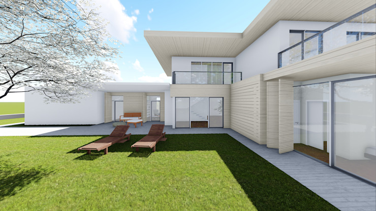 Progettazione case in legno Giardino moderno di Studio Dalla Vecchia Architetti Moderno