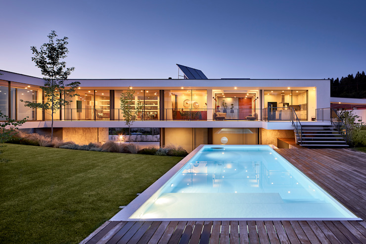 MC House Atelier d'Arquitetura Lopes da Costa Piscinas infinitas Azul