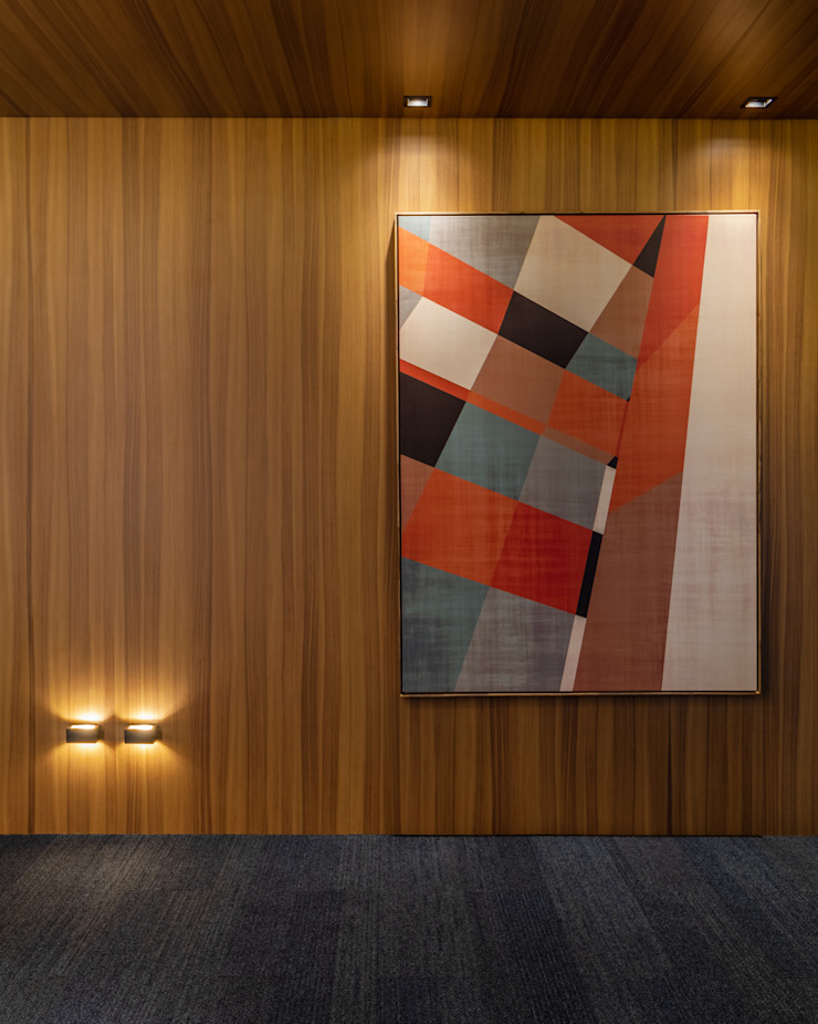 Detalhe Hall Social | Obra de Arte Arquitetura Sônia Beltrão & associados Espaços comerciais minimalistas Madeira Multi colorido