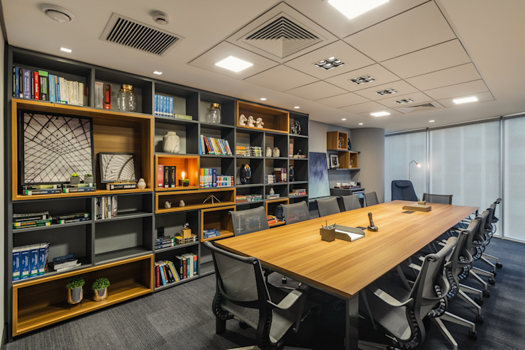 Sala de Reunião 3 | Biblioteca Arquitetura Sônia Beltrão & associados Espaços comerciais modernos Madeira Multi colorido