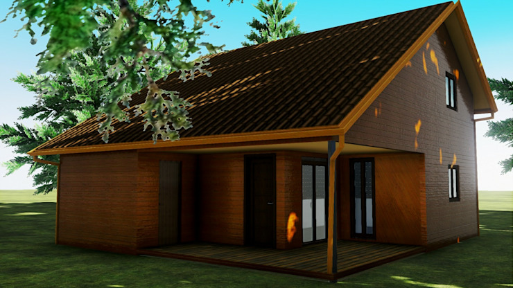 Casa Prefabricada REF.100004 de Pro-Gal Construcción Prefabricada Escandinavo Madera Acabado en madera