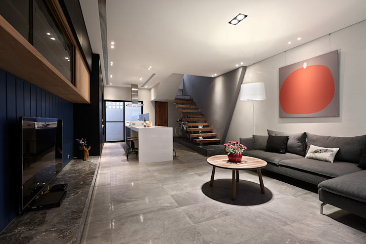 客廳 现代客厅設計點子、靈感 & 圖片 根據 黃巢設計工務店/戴小芹建築師事務所 現代風 磁磚