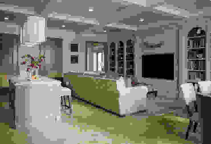 Гостиная-кухня-столовая в квартире в клубном доме в Depre. Гостиная в классическом стиле от MARION STUDIO Классический