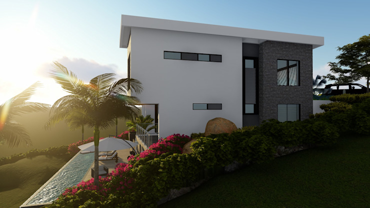 FACHADA EXTERIOR CASA DE CAMPO. Casas de estilo minimalista de TITANIUM ARQUITECTOS S.A.S. Minimalista