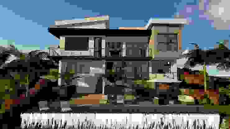 fachada posterior, vista hacia el guadual Casas de estilo minimalista de TITANIUM ARQUITECTOS S.A.S. Minimalista