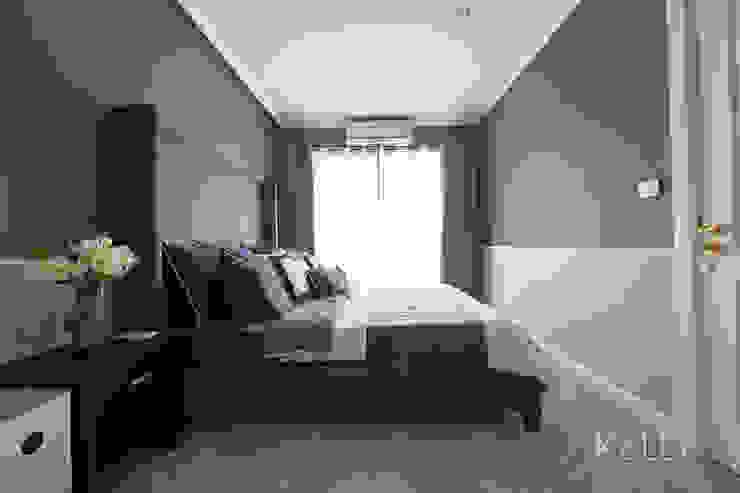 โครงการเฌอคูณ สาทร – ราชพฤกษ์ บ้านทาวน์โฮม 3 ชั้น บริษัท โกลบอล สปริง จำกัด ห้องนอนเตียงนอนและหัวเตียง Grey