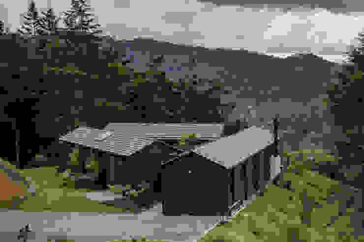 Casa en forma de triángulo de Estudio Transversal SAS Moderno Madera Acabado en madera