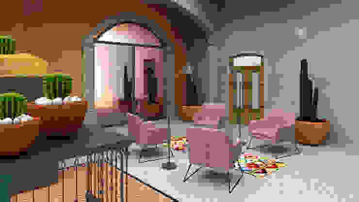 Sala de espera hotelito M CONCEPTO JORU Hoteles de estilo ecléctico Turquesa