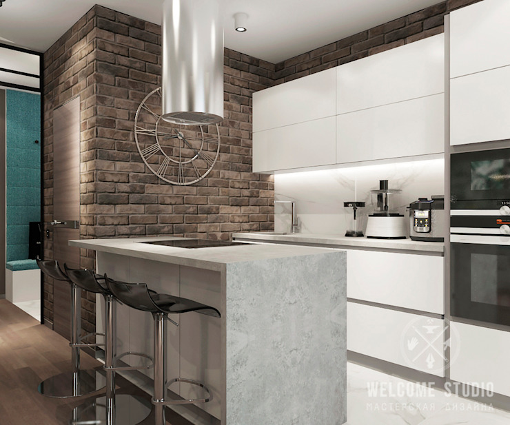 Industrial style kitchen by Мастерская дизайна Welcome Studio Industrial