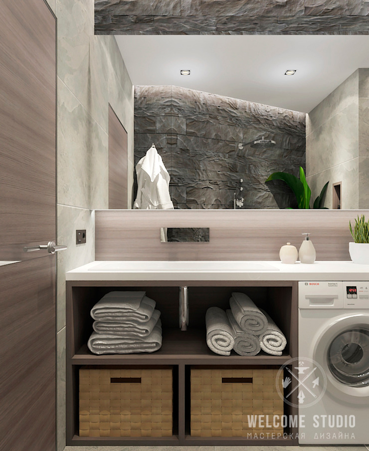 Industrial style bathroom by Мастерская дизайна Welcome Studio Industrial