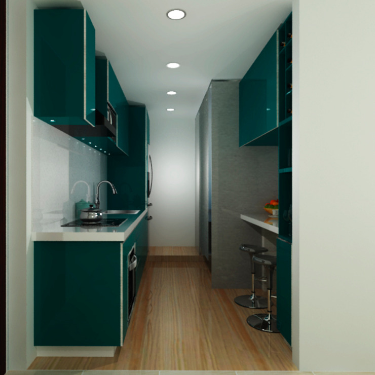 G&T Arquitectos sas Built-in kitchens Wood Green