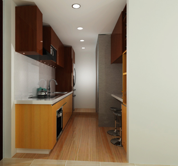 G&T Arquitectos sas Built-in kitchens Wood Yellow