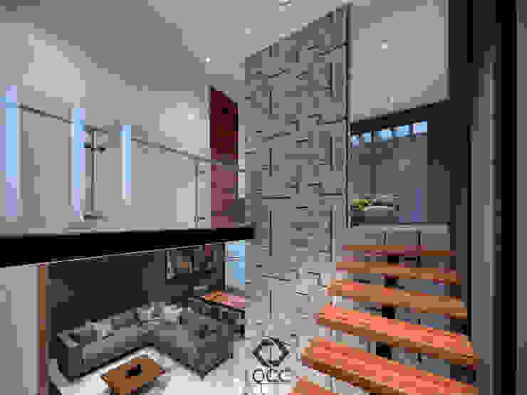 Casa GA: Escalera/Pasillo Pasillos, vestíbulos y escaleras modernos de Constructora OCC Moderno