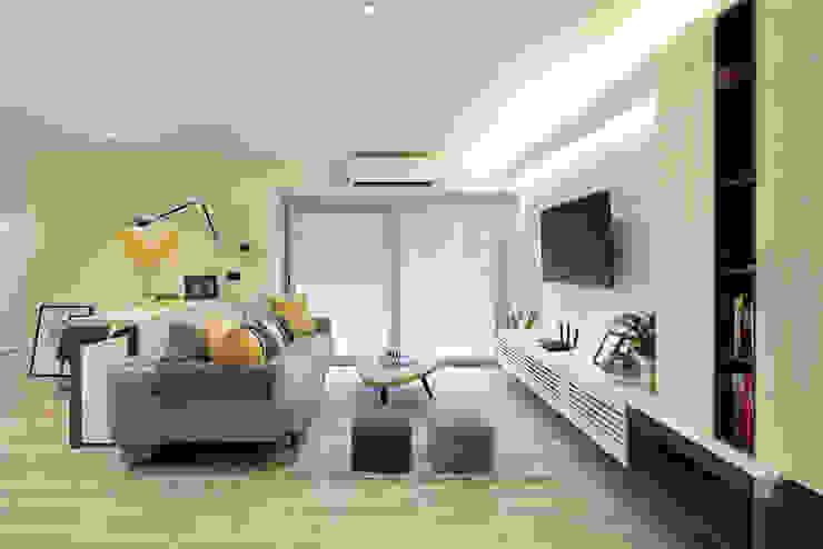 Darren Design & Associates 戴倫設計 Salones de estilo moderno Madera Blanco