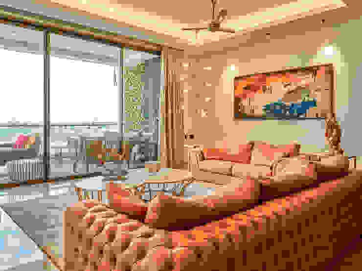 CROWN AURA KEJRIWAL RESIDENCE | BANGALORE Modern Living Room by DUTTA KANNAN & PARTNERS Modern Marble