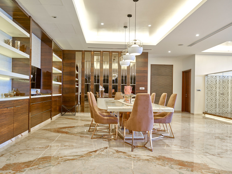 CROWN AURA KEJRIWAL RESIDENCE | BANGALORE Modern Dining Room by DUTTA KANNAN & PARTNERS Modern Marble