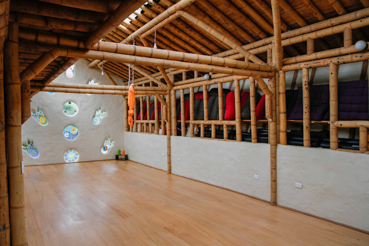 Salones sociales de Hauzer Arquitectura Tropical Bambú Verde