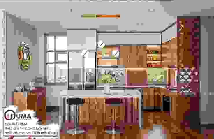 Tủ bếp Nattifi: hiện đại  by Nội Thất UMA, Hiện đại Gỗ thiết kế Transparent