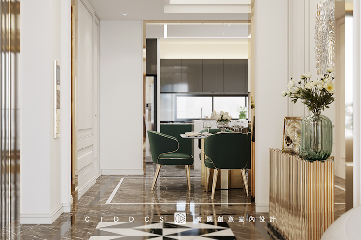 老屋翻新大改造分享-輕奢優雅智慧宅,打造你的全能避風港,落實生活智能,24小時居家防護 經典風格的走廊,走廊和樓梯 根據 有關創意室內設計 古典風