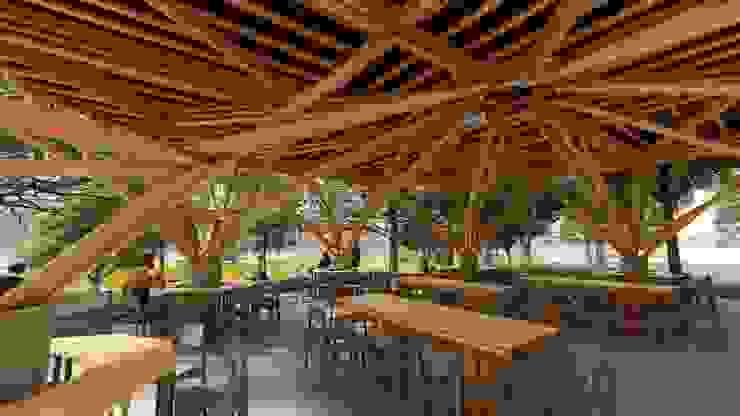 Comunidad Comedores de estilo tropical de Hauzer Arquitectura Tropical Bambú Verde