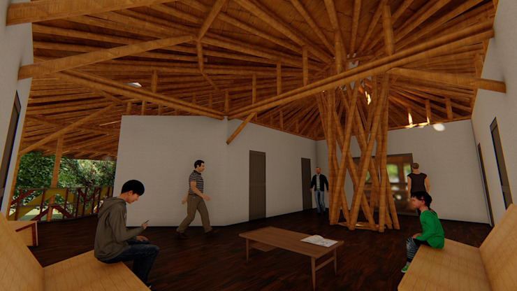 Lógica funcional Salas de estilo tropical de Hauzer Arquitectura Tropical Bambú Verde