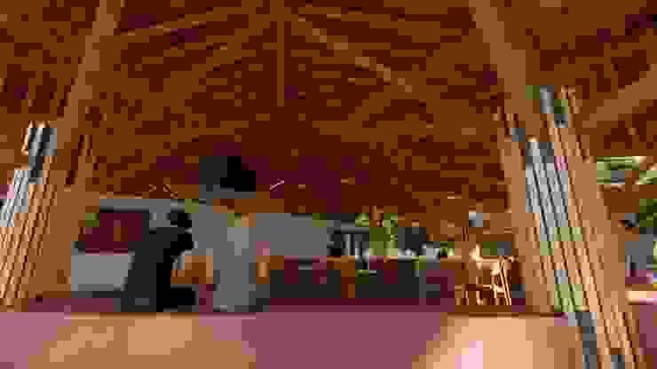 Estructura a la vista de Hauzer Arquitectura Tropical Bambú Verde