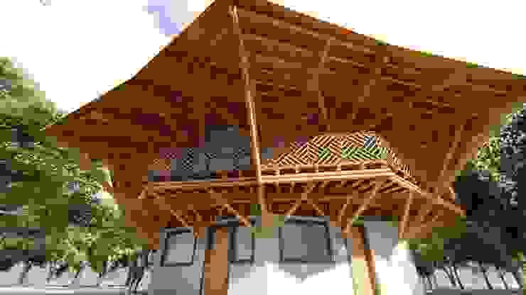 Estructura sólida de Hauzer Arquitectura Tropical Bambú Verde
