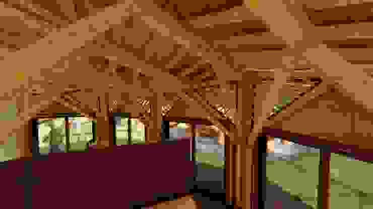Vista al territorio Estudios y despachos de estilo tropical de Hauzer Arquitectura Tropical Bambú Verde