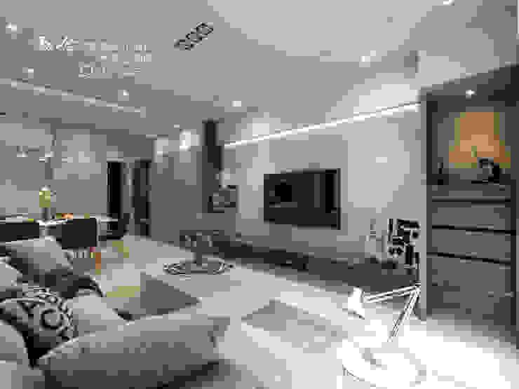 客廳/天花板/收納空間/大理石/現代風 现代客厅設計點子、靈感 & 圖片 根據 木博士團隊/動念室內設計制作 現代風
