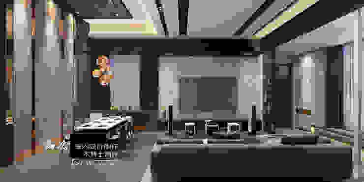客廳/木纖水泥板/木地板/現代風 现代客厅設計點子、靈感 & 圖片 根據 木博士團隊/動念室內設計制作 現代風