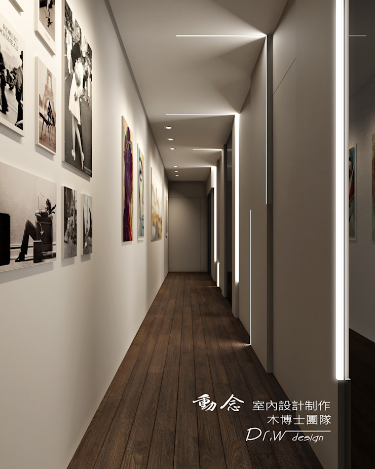 廊道/木地板/現代風 現代風玄關、走廊與階梯 根據 木博士團隊/動念室內設計制作 現代風