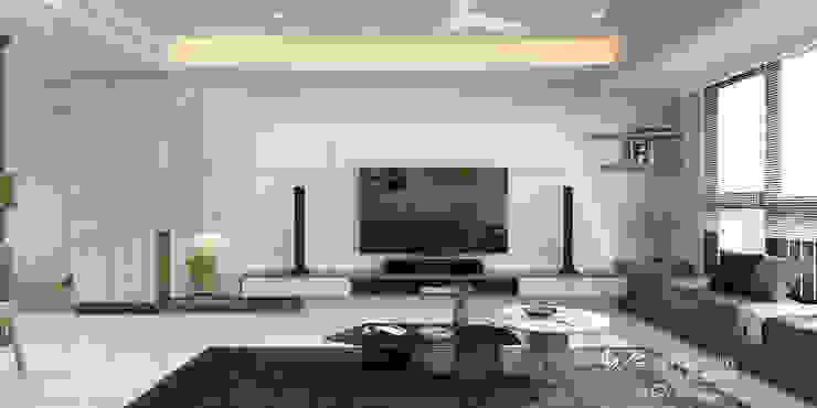 客廳/木纖水泥板/大理石/現代風 现代客厅設計點子、靈感 & 圖片 根據 木博士團隊/動念室內設計制作 現代風