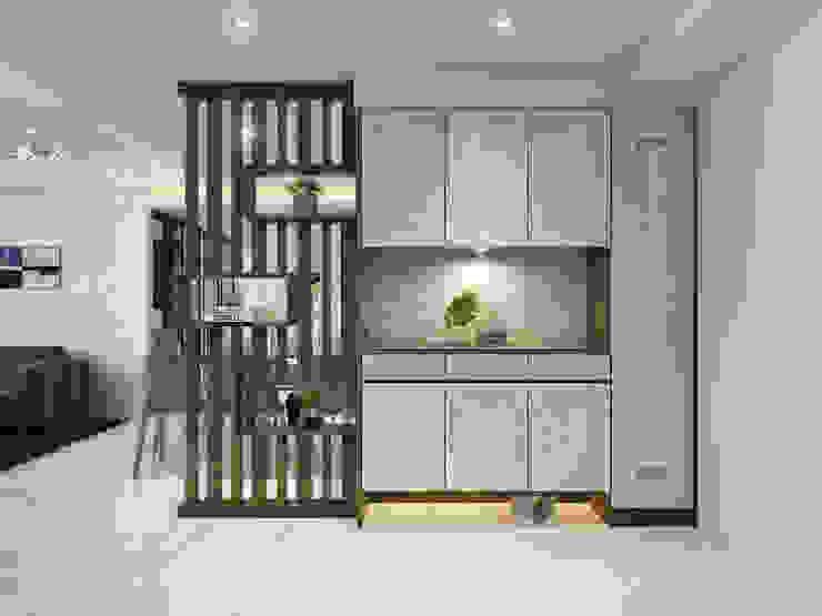 玄櫃/大理石/現代鄉村風 現代風玄關、走廊與階梯 根據 木博士團隊/動念室內設計制作 現代風