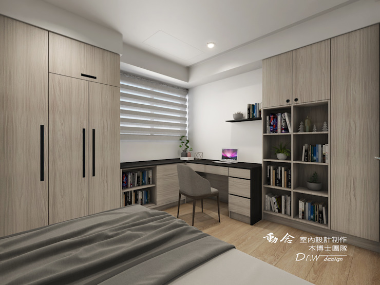 男孩房/書桌/木地板/現代鄉村風 根據 木博士團隊/動念室內設計制作 現代風