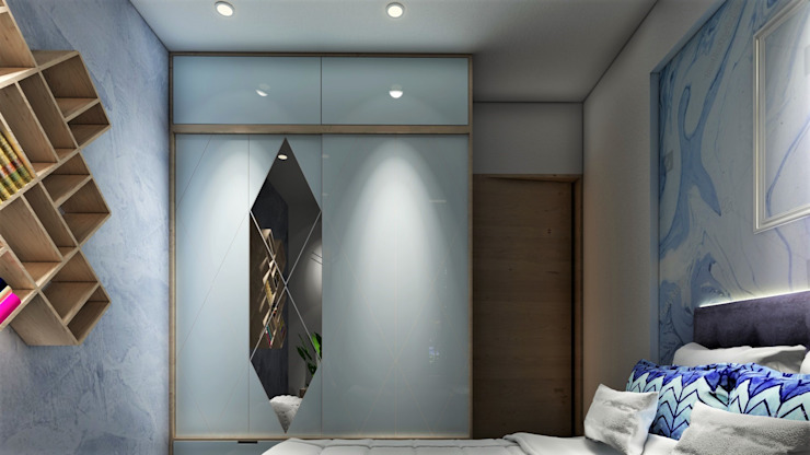 3BHK, Puranik's Abidante, Bavdhan Modern style bedroom by Design Evolution Lab Modern