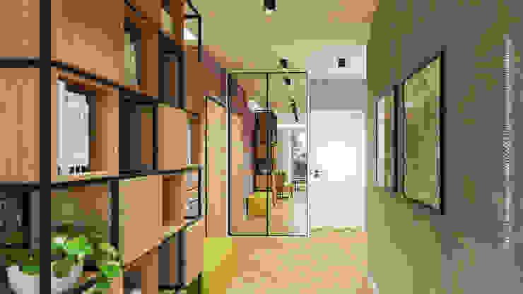 Industrialny regał w korytarzu CONTECH Architektura Industrialny korytarz, przedpokój i schody Beton