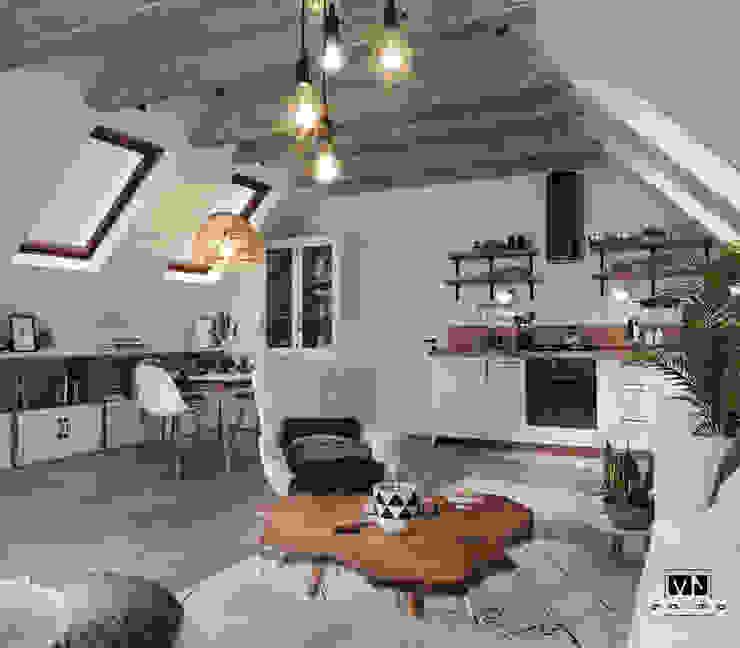 Mieszkanie na poddaszu inspirowane naturą MJanimo sp. z o.o Rustykalny salon Drewno Biały
