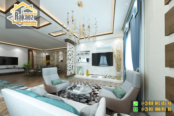تصميم استقبال بشقة سكنية: حديث  تنفيذ مجموعة ركائز الهندسية, حداثي