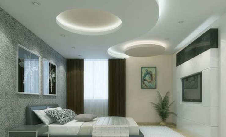 False ceiling in Chennai Blue Interior Designs Small bedroom Chipboard White