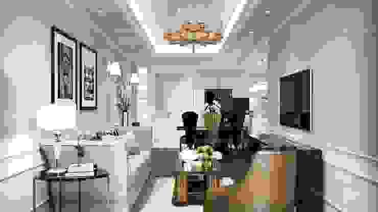 Thiết kế nội thất căn hộ Hado Centrosa Garden: Đẳng cấp cùng phong cách Tân cổ điển Phòng khách phong cách kinh điển bởi SHINE DESIGN Kinh điển