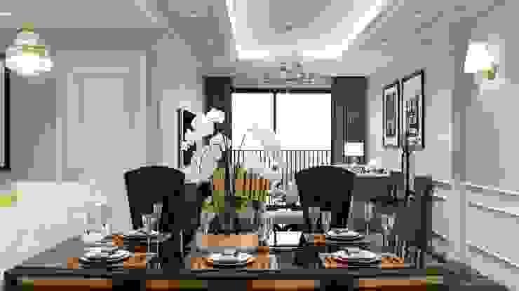 Thiết kế nội thất căn hộ Hado Centrosa Garden: Đẳng cấp cùng phong cách Tân cổ điển Phòng ăn phong cách kinh điển bởi SHINE DESIGN Kinh điển