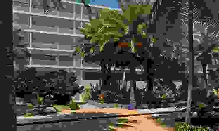 Terrazas y andadores del jardín central EcoEntorno Paisajismo Urbano