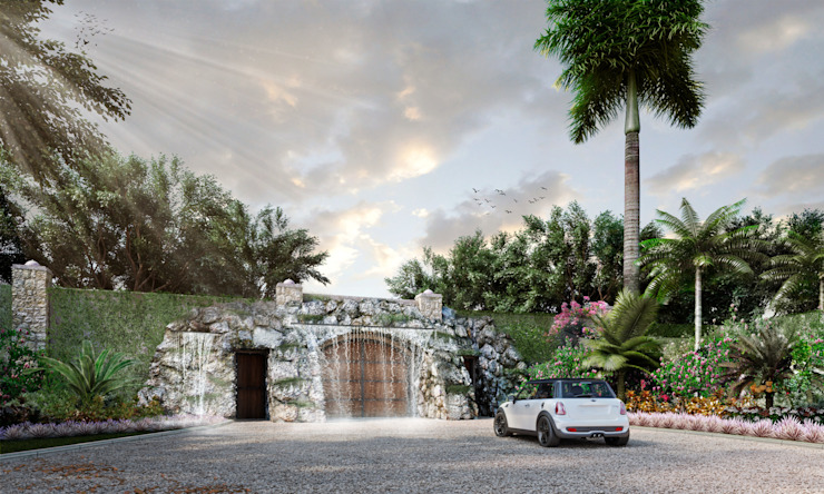 Propuesta paisajística para acceso a residencia en Campeche EcoEntorno Paisajismo Urbano
