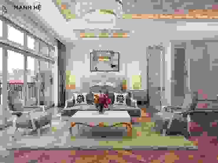 Bộ ghế sofa và bàn trà trong phòng ngủ, nổi bật với gam màu xanh hiện đại Phòng ngủ phong cách hiện đại bởi Công ty TNHH Nội Thất Mạnh Hệ Hiện đại