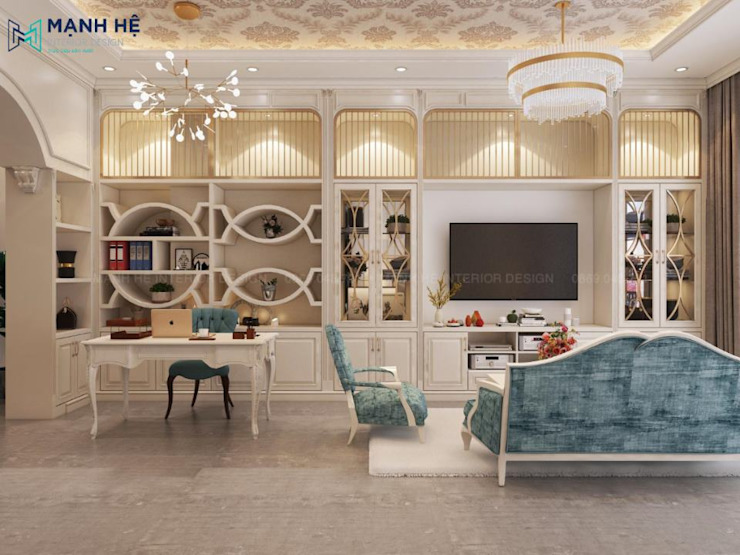 Tủ trang trí, kệ sách, kệ tivi âm tường nối liền nhau tạo thành hệ tủ âm tường hoành tráng, đẳng cấp bởi Công ty TNHH Nội Thất Mạnh Hệ Hiện đại